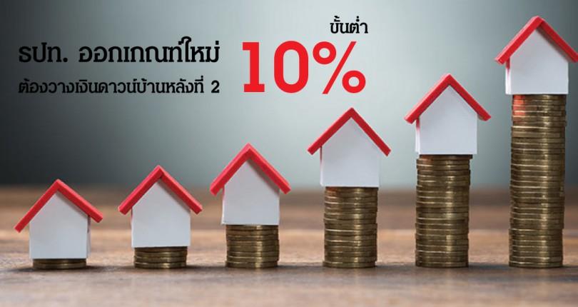 ธปท. ออกเกณฑ์ใหม่ ต้องวางเงินดาวน์บ้านหลังที่ 2 ขั้นต่ำ 10%